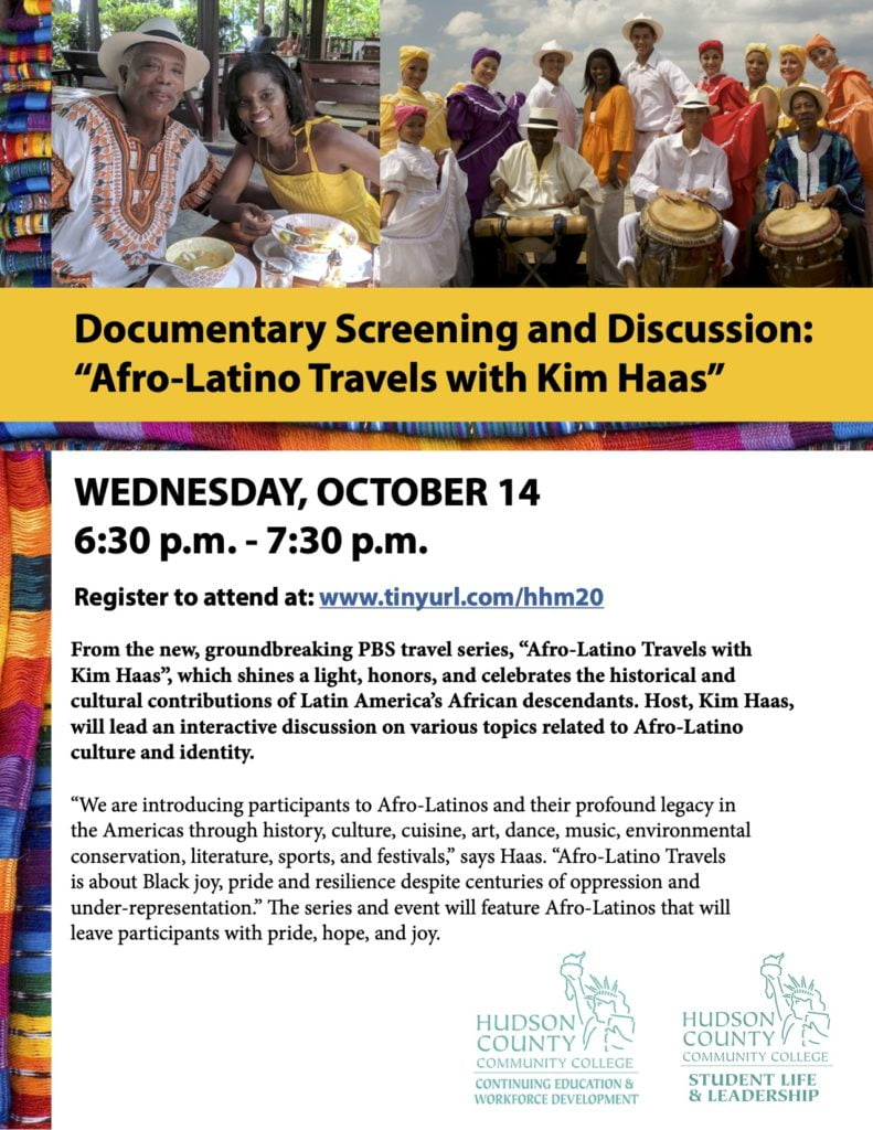 2020-10-14 Screening and Discussion Afro-Latino Travels With Kim Haas